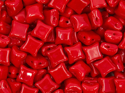25 pcs WibeDuo® Beads, 8x8 mm,2-Hole, Czech Glass, Opaque Red