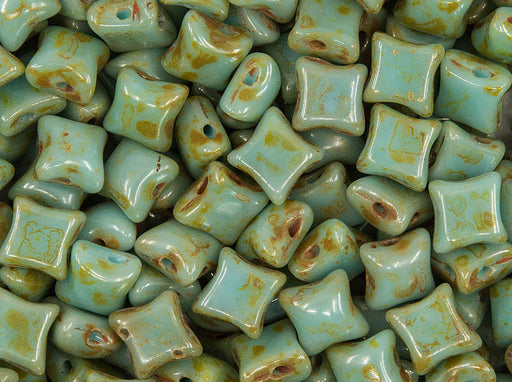 25 pcs WibeDuo® Beads 8x8 mm, 2 Holes, Opaque Turquoise Blue Travertine, Czech Glass