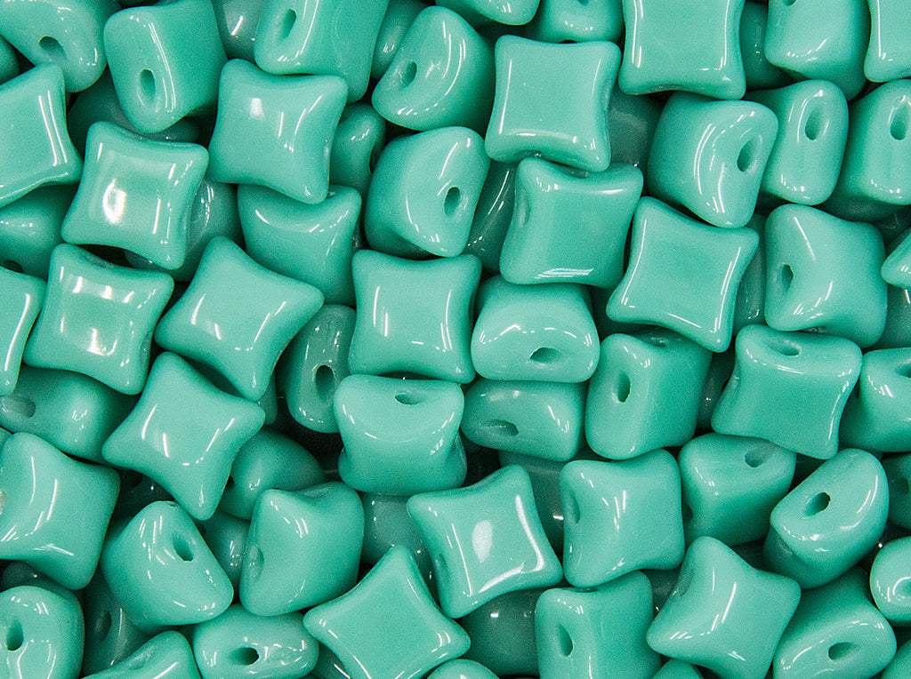 WibeDuo® Beads 8x8 mm, 2 Holes, Opaque Turquoise Green, Czech Glass