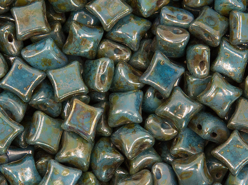 25 pcs WibeDuo® Beads 8x8 mm, 2 Holes, Opaque Turquoise Bronze, Czech Glass