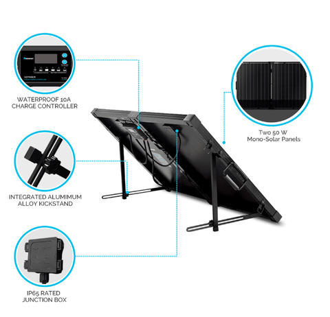 Image of 100 Watt 12V Mono Foldable Solar Suitcase w/ 10A Voyager Charge Controller + Free Shipping! - Shop Solar Kits