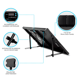 100 Watt 12V Mono Foldable Solar Suitcase w/ 10A Voyager Charge Controller + Free Shipping! - Shop Solar Kits