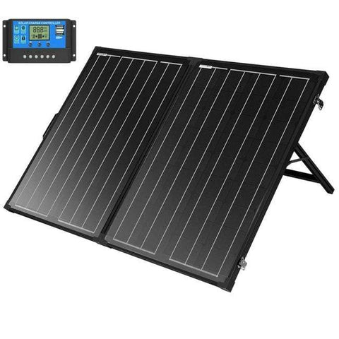Image of 130 Watt Portable Solar Suitcase 12V Mono w/ LCD Charge Controller + Free Shipping & NO Sales Tax - Shop Solar Kits
