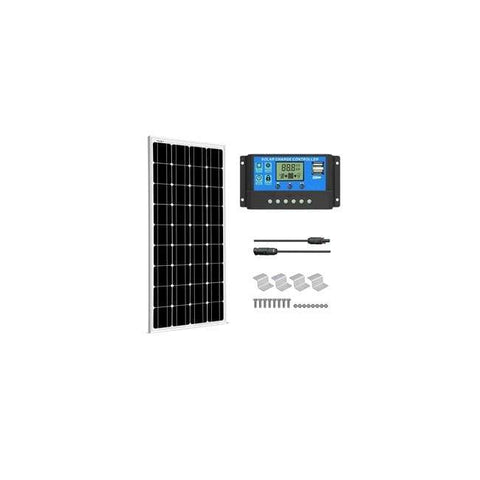 Image of Complete 100 Watt Solar Kit - 100W Solar Panel + 20A LCD PWM Charge Controller Solar + MC4 Extension Cables +  Z Mounting Brackets - Shop Solar Kits