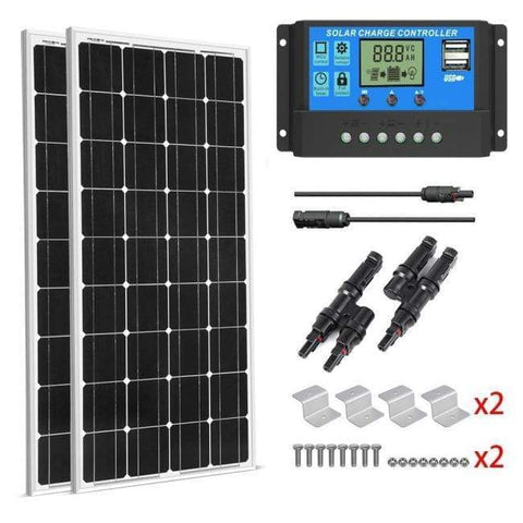 Complete 200 Watt Solar Kit - 200W Solar Panel + 20A LCD PWM Charge Controller Solar + MC4 Extension Cables + Z Mounting Brackets - Shop Solar Kits