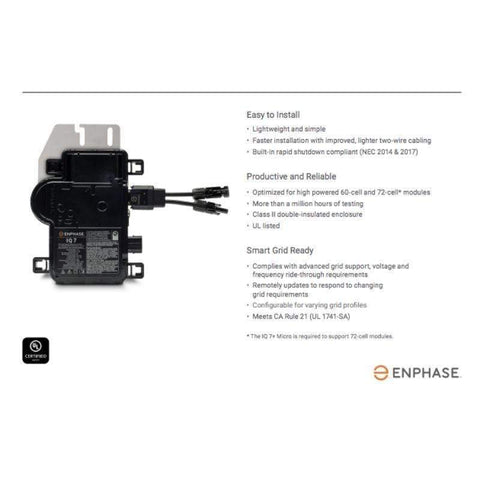 Enphase IQ7PLUS-72-2 Microinverter w/ MC4 Connectors + No Sales Tax! - Shop Solar Kits