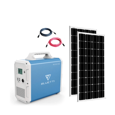 MaxOak Bluetti EB150 Solar Generator [TWO] Panel Kit + 2 x 100 Watt Solar Panels | Complete Solar Kit SSK-EB150-200-KIT MaxOak