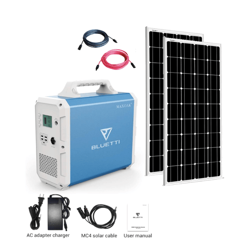 Image of MaxOak Bluetti EB150 Solar Generator [TWO] Panel Kit + 2 x 100 Watt Solar Panels | Complete Solar Kit SSK-EB150-200-KIT MaxOak