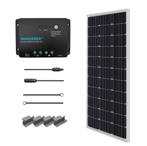 Renogy 100 Watt 12 Volt Mono Complete Solar Kit with Mounting Hardware + Free Shipping & No Sales Tax RNG-KIT-STARTER100D-WND30-BC Renogy