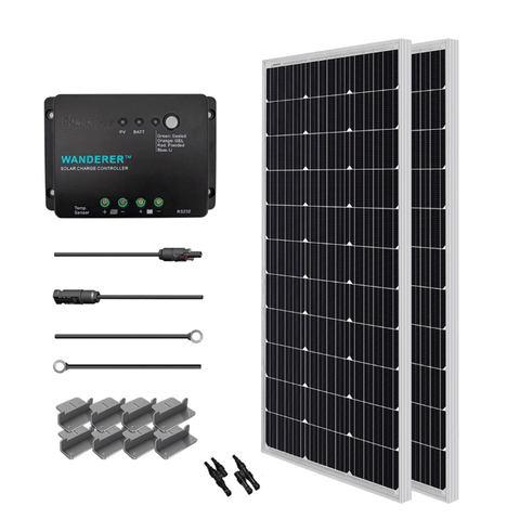 Renogy 200 Watt 12 Volt Mono Complete Solar Kit with Mounting Hardware + Free Shipping & No Sales Tax RNG-KIT-STARTER200D-WND30-BC Renogy