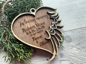 Heart angel wing ornament