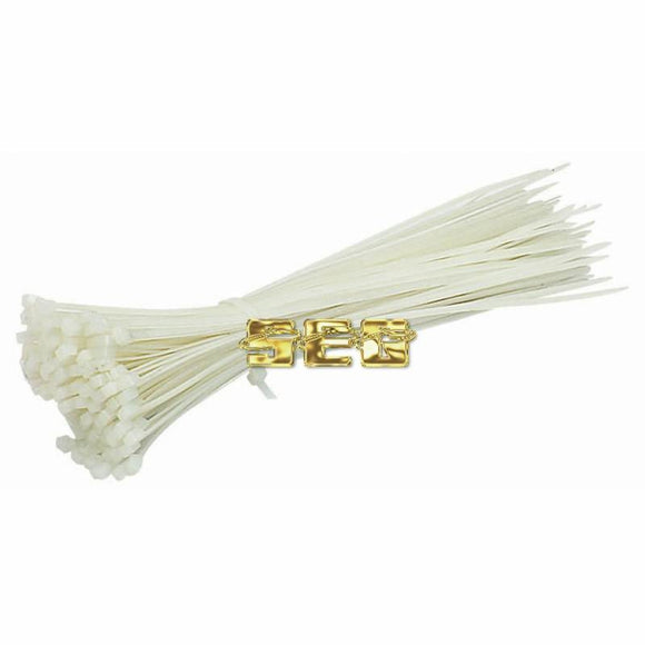 8 in. White Cable Ties 100 Pk.