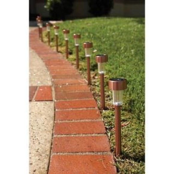 Solar Walkway Lights In Copper 10 PC Save Money