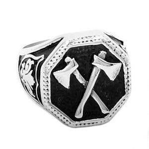 Stainless Steel Viking Battle Axe Ring