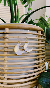 Small Gold Dusted Moon Clay Earrings
