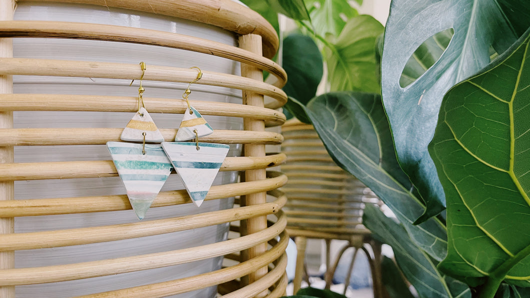 Double Triangle Clay Earrings