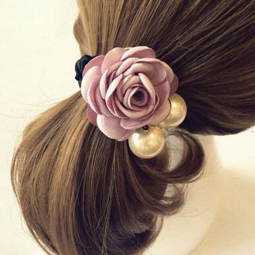 Womens Flower Pink Bride Satin Ribbon Big Rose Flower Ponytail Holder