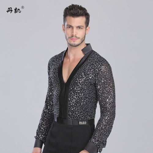 Gentleman V-neck Latin dancing clothes top for men