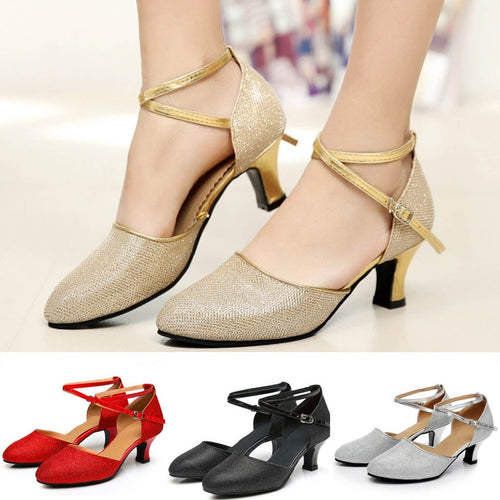 Women's Ballroom Tango Latin Salsa Dancing Shoes Sequins Shoe Social Dance Shoe fashion Round Toe British Wind Spike Heel Apr 12