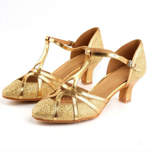 Girls Elegant Gold Ballroom Dancing Shoes