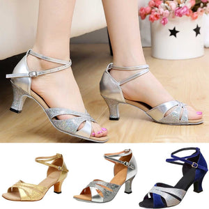 Women's Rumba Waltz Prom Ballroom Latin Salsa Dance Shoes Square Dance Shoes fashion Peep Toe British Wind Spike Heel Apr 25