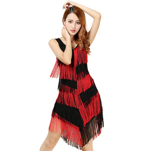 New 2019 Red/Black Women's Fringe Dress For Dancing