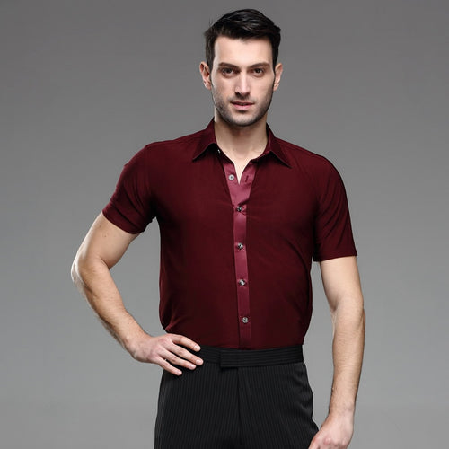 Latin Dance Shirts For Men - Short Sleeve Button Up Burgundy