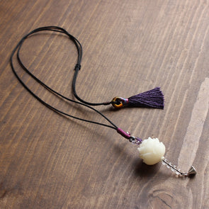 Handcarved Natural White Bodhi Seed Flower Pendant Necklace