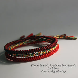 Tibetan Buddhist Handmade Lucky Knots Rope Bracelet - Protection
