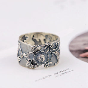 Pure 999 Silver Vintage Flower Ring