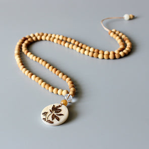 Natural Wood Bead Necklace With Tagua Nut Carved Lotus Flower Pendant
