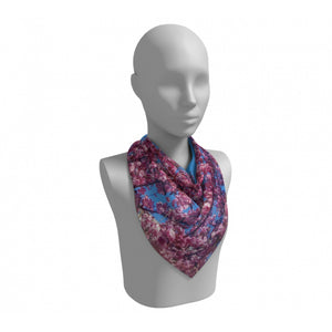 Cherry Blossoms Blue Square Scarf