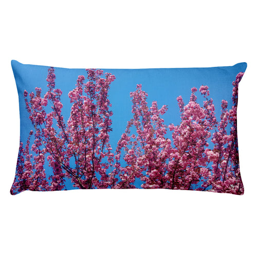 Cherry Blossoms Blue Throw Pillow