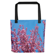Load image into Gallery viewer, Cherry Blossoms Blue Tote
