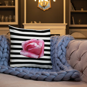 Rose & Stripes Throw Pillow