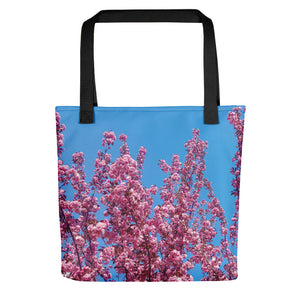 Cherry Blossoms Blue Logo Tote