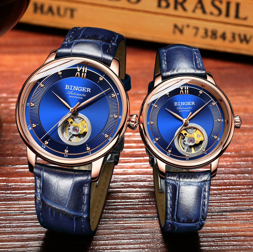 Binger Swiss Ultra thin Super Luxury Tourbillon Couple Watch B 1108