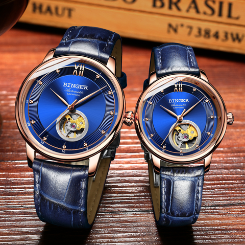 Image of Binger Swiss Ultra thin Super Luxury Tourbillon Couple Watch B 1108
