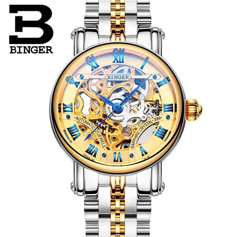 Binger Swiss Hollow Mechanical Watch Women B 5066 HW