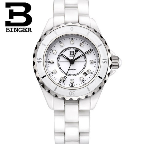 Binger Swiss Quartz Luxury Women Ceramic Watch B 8008