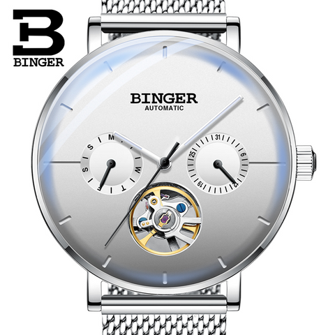 Binger Swiss Mechanical Black Business Luxury Men Watch B 8612