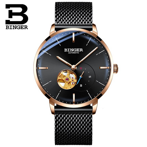 Binger Swiss Mechanical Black Business Luxury Men Watch B 5085M-1