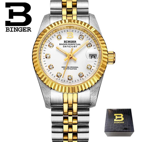 Image of Binger Swiss Striped Mechanical Women's Watch B 552 F