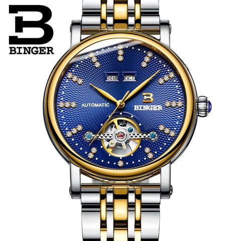 Binger Swiss Diamond Studded Mechanical Watch Men B 1173