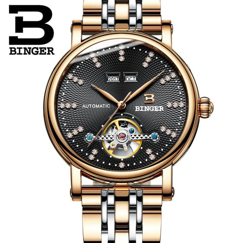 Image of Binger Swiss Diamond Studded Mechanical Watch Men B 1173