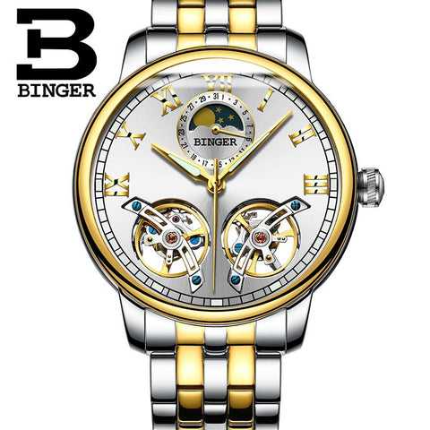 Image of Binger Swiss Double Tourbillon Mechanical Watch Men B 8607