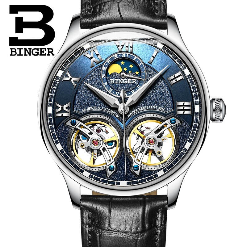Binger Swiss Double Tourbillon Rugged Luxury Mechanical Watch Men B 8606 B