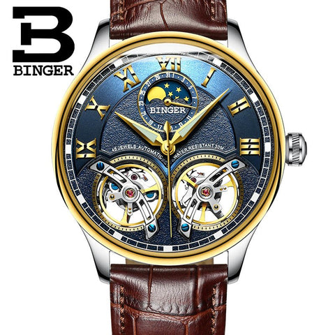 Image of Binger Swiss Double Tourbillon Rugged Luxury Mechanical Watch Men B 8606 B