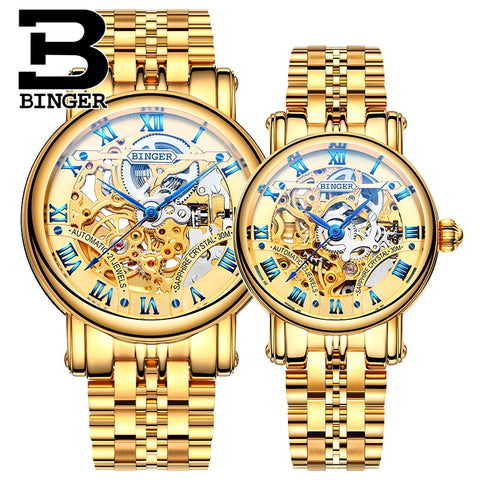 Binger Swiss Hollow Mechanical Couple Watch BS5066HL