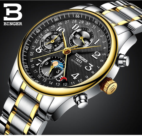 Image of Binger Swiss Moon Phase Mechanical Watch Men B 603-8